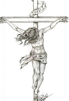 how to draw jesus on the cross step by step in black - - Image Search Results Jesus Christ Drawing, Jesus Drawings, Jesus Art, Jesus On Cross Tattoo, Christ Tattoo, Jesus On The Cross, Christian Drawings, Christian Art, Jesus Sketch