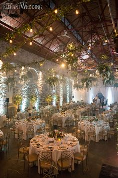 Marie and Phil's industrial wedding was incredible. Plain and simple. With an abundance of fresh greenery and twinkling lights hanging from the ceiling. Indoor Garden Wedding Reception, Outdoor Wedding Decorations, Outside Wedding, Outdoor Weddings, Wedding Receptions, Reception Ideas, Wedding Lighting Indoor, Enchanted Garden Wedding, Florida Wedding Venues