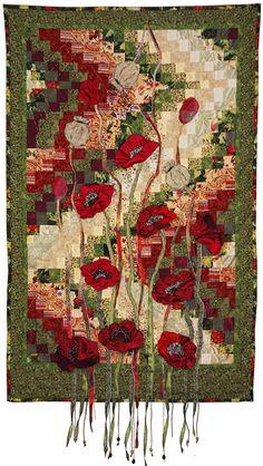 """Poppies"" art quilt by Nelly Savelieva | Patchwork Europe. Bargello background."