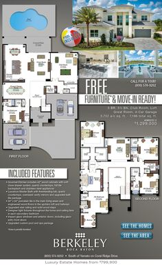 Simple House Plans Free Best Of Free Furniture & Move In Ready Home at Berkeley by Glhomes Simple House Plans, Dream House Plans, Modern House Plans, Modern House Design, House Floor Plans, The Plan, How To Plan, Florida Homes For Sale, House Map