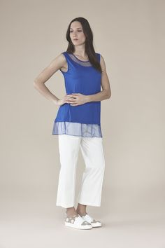 Jersey cami with mesh 65.00$