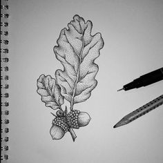 68 Ideas flowers black and white tattoo tatoo for 2019 Tattoo Daruma, Tattoo Platzierung, Herz Tattoo, Tattoo Trend, Tattoo Drawings, Oak Leaf Tattoos, Oak Tree Tattoo, Acorn Drawing, Leaf Drawing