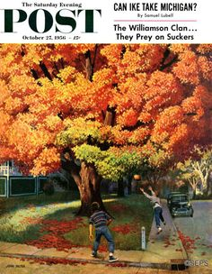 Tossing The Football by John Falter October 27, 1956, The Saturday Evening Post.