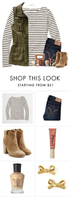 """""""{gold bows & too faced}"""" by bloom17 ❤ liked on Polyvore featuring J.Crew, Hollister Co., Old Navy, Laurence Dacade, Kate Spade, Too Faced Cosmetics, women's clothing, women's fashion, women and female"""