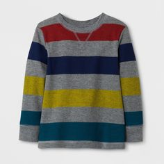 Your little guy will love to cozy up in this super soft, thermal knit T-Shirt from Cat & Jack™ when there is a nip in the air. This multicolored, striped tee can be paired easily with his favorite denim pants or dungarees anytime for a cute, colorful combo that will become your favorite turn-to – for daycare or playtime. When it comes to cleaning up, just toss it in the machine for a good clean scrub.