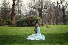 Kensington Gardens, resting in my 1885 bustle dress.