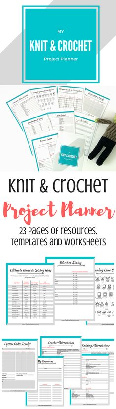 Organize all your knitting & crochet patterns, design ideas, orders, and resource in one place with this 23 page knit & crochet project planner!