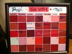 Red Paint chip calendar #craftydieter