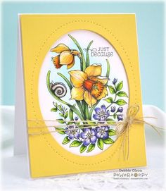 handcrafted card .. Power Poppy Instant Garden: Dancing with Daffodils ... beautfiul botanical flower image ...