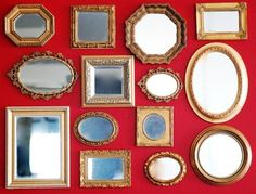vintage gold mirrors display #gallery #wall