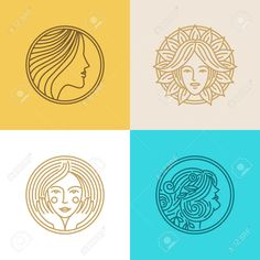 Vector Set Of Logo Design Templates And Abstract Concepts - Woman ...