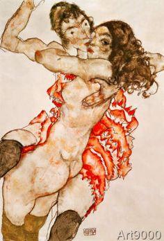 Egon Schiele - Two Girls Embracing, 1915