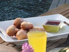 Lemon Ricotta Fritters with Fresh Berry Jam : Recipes : Cooking Channel - Bobby Flay Jam Recipes, Other Recipes, Brunch Recipes, Dessert Recipes, Cooking Recipes, Brunch Ideas, Desserts, Breakfast Recipes, Citrus Recipes