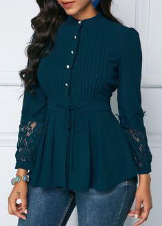 New Fashion Vintage Elegant Women Shirts Blouses Spring Autumn Long Sleeve Lace Panel Crinkle Chest Peplum Blouse Blouse Styles, Blouse Designs, Hijab Fashion, Fashion Dresses, Sleeves Designs For Dresses, Peplum Blouse, Peplum Tops, Elegant Outfit, Mode Inspiration