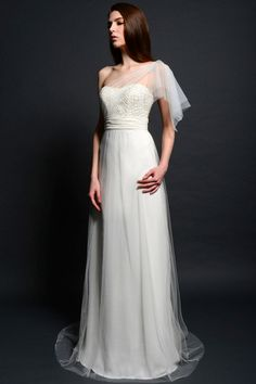 #SL041 - Silver Label by Eden (shown with one-shoulder Sheer Flutter sleeve with Beaded bodice & gathered band at waist)