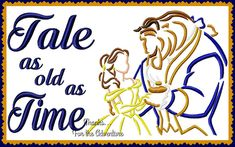 Tale As Old As Time Princess Belle and the Beast from Beauty and the Beast Sketch Combo Digital Embroidery Machine  Design File   5x7 6x10 by Thanks4TheAdventure on Etsy