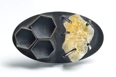 Alisa Miller - Fabricated and oxidized sterling silver brooch with uncut citrine.