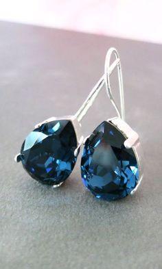 Ourania Simple Swarovski Crystal Teardrop by GlitzAndLove on Etsy