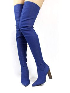 0be5c06b8230 Cape Robin Pointy Toe Thigh High Over the Knee Chunky Heel Boots