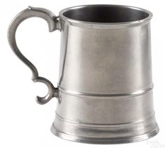 Pook & Pook 1/15/16 Lot: 166.  Estimated: $1,000 - $2,000.  Realized Price: $4,920.  Description: Providence, Rhode Island pewter mug, ca. 1815, bearing the touch of Samuel Hamlin, 4 1/2'' h. Provenance: The Estate of Bernard B. Hillmann, Wyckoff, New Jersey.  Condition: Good condition. No apparent damages or repairs.