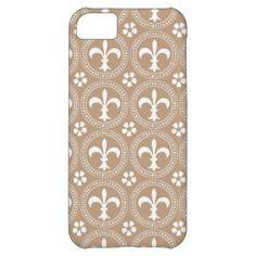 Coppertone Coffee And White Fleur De Lis Pattern iPhone 5C Cases
