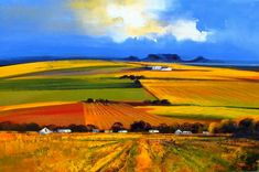 Artwork of Derric van Rensburg exhibited at Robertson Art Gallery. Original art of more than 60 top South African Artists - Since Abstract Landscape Painting, Watercolor Landscape, Landscape Art, Landscape Paintings, Fields In Arts, Art Is Dead, South African Artists, Naive Art, Cool Paintings