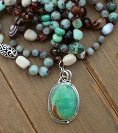 Enchanting, Double wrap, Beaded Necklace, with Pendant, by Knottedup, Boulder Chrysoprase, gemstones, one of a kind, jewelry gifts, for her by KnottedUpJewelry, $390.02 USD Antique Jade, Beaded Necklaces, Pendant Set, Jewellery Storage, Stones And Crystals, Jewelry Gifts, Turquoise Necklace, Gemstones, Boho