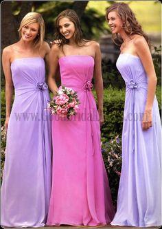 Cheap Bridesmaids Gowns Chiffon Empire Strapless Flowers Ruffles Emerald Light Sky Blue Wholesale Wedding Party PERFECT! Dresses