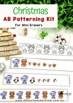 How cute are these Free Christmas Resources For teaching Patterning? Pretty darn cute we say! And we know your kids will love learning to copy, continue, describe and create AB patterns with this kit and Kmart mini erasers too! Preschool Christmas Activities, Classroom Activities, Learning Activities, Teaching Ideas, Classroom Ideas, Christmas Math, Christmas Ideas, Math Workbook, Christmas Characters