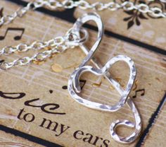 Hammered Treble Clef Heart Necklace Pendant  By Wirewrap, $26.00