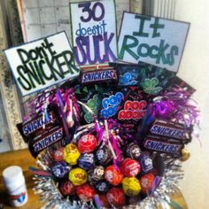 A candy bouquet I made for my sister in laws 30th birthday. Super fun & easy!