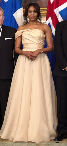 Michelle Obama State Dinner Dresses Through the Years - Naeem Khan in 2016