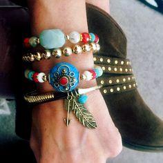 Set By Vila Veloni Modern Stones With Gold Be Brave Bracelets