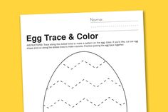 free printable worksheet: chevron Easter egg to trace, color and cut...like making your own puzzle.