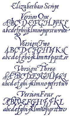 Elizabethan Script set from Font Craft