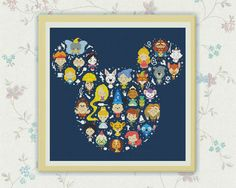 Disney Mickey - cross stitch pattern. SIZE: Dimensions (14-count aida): 11.41 x 12.9 inches / 29.57h x 33.75w cm (18-count aida): 9 x 10.2 inches /23.00h x 26.25w Fabric: Any fabric you like Types of stitches: Cross stitch only Skill Level: Easy ONLY PATTERN! This PDF file counted