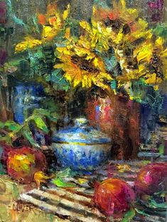 """Daily Paintworks - """"Pomegranates and Sunflowers - ..."""" by Julie Ford Oliver"""