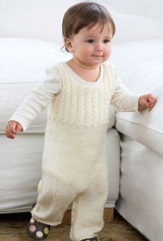 Free knitting pattern for Cabled Baby Overalls