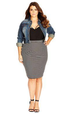 City Chic Midi Stripe Skirt - Women's Plus Size Fashion City Chic - City Chic…
