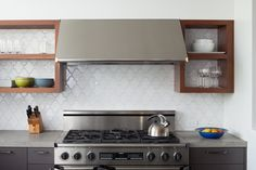 Specialty Paseo White Gloss Kitchen Backsplash at Fireclay Tile, www.fireclaytile.com