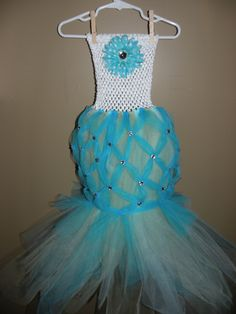 Little Mermaid tutu Skirt with Aqua blue, green tulle with netting detail and Rhinestones/ crochet top/ birthday/halloween/ Party 0-4t. $44.95, via Etsy.