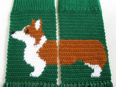 Corgi Dog Scarf. Emerald green, knit scarf with Welsh corgi dogs. Scarves with Pembroke welsh corgis