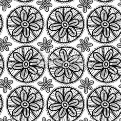 Lace seamless pattern with black flowers on white background. Vector Royalty Free Stock Vector Art Illustration