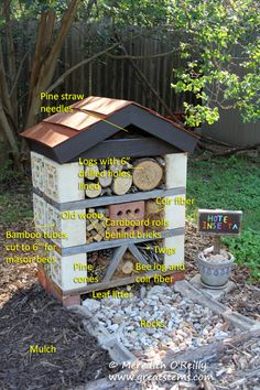 An insect hotel is a structure that offers native bees a place to build nests, a place for fireflies to lay their eggs, a place for lady beetles and butterflies and lacewings to seek shelter, and so on. Learn how to build one with Great Stems.