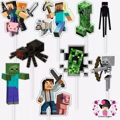 50 tag / topper no palito minecraft Cupcakes Minecraft, Minecraft Party Food, Minecraft Party Decorations, Minecraft Blocks, Minecraft Birthday Card, Mine Craft Party, Imprimibles Toy Story Gratis, Cupcake Toppers Free, Mini Craft