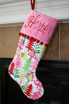 PERSONALIZED CHRISTMAS STOCKING with ball by bebesniklefritz, $41.50