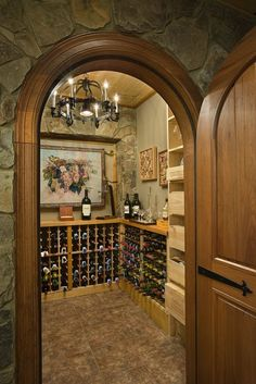 Wine Cellar in a timber frame home