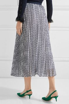 Oscar de la Renta - Pleated Broderie Anglaise Cotton-blend Skirt - Navy - US6