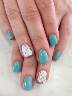 Green-with-white Awesome Spring Nails Design for Short Nails Easy Summer Nail Art Ideas Switch out the checked pattern for a sale print and you would have some stunning mermaid mails. Short Nail Designs, Nail Designs Spring, Simple Nail Designs, Nail Art Designs, Nails Design, Easter Nail Designs, Spring Design, Fingernail Designs, Salon Design