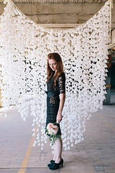 diy wedding 15 Cheap DIY Wedding Decorations - I like the wax paper backdrop and the string chandelier Paper Backdrop, Diy Backdrop, Ceremony Backdrop, Backdrop Photobooth, Wedding Backdrops, Flower Backdrop, White Backdrop, Trendy Wedding, Our Wedding